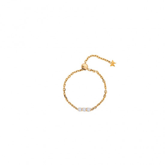 Gold chain ring studded with 3 diamonds