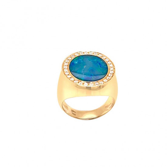 A wide gold ring studded with diamonds with an opal stone