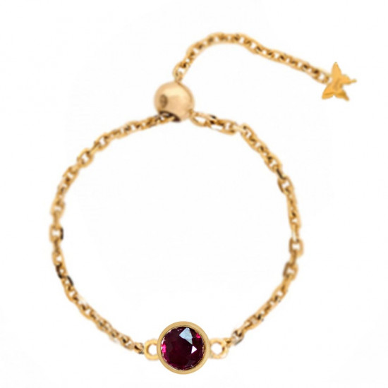GOLD CHAIN RING STUDDED WITH RUBY