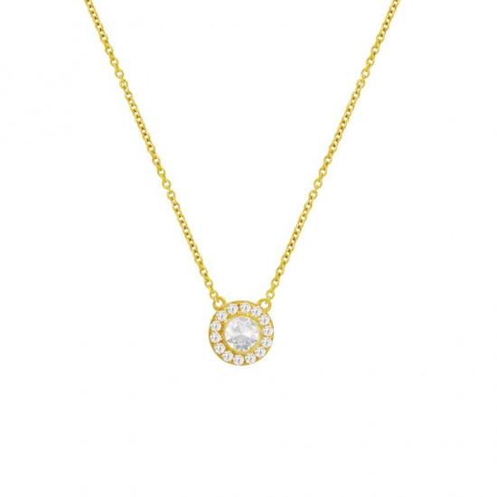 Diamond gold chain with solitaire