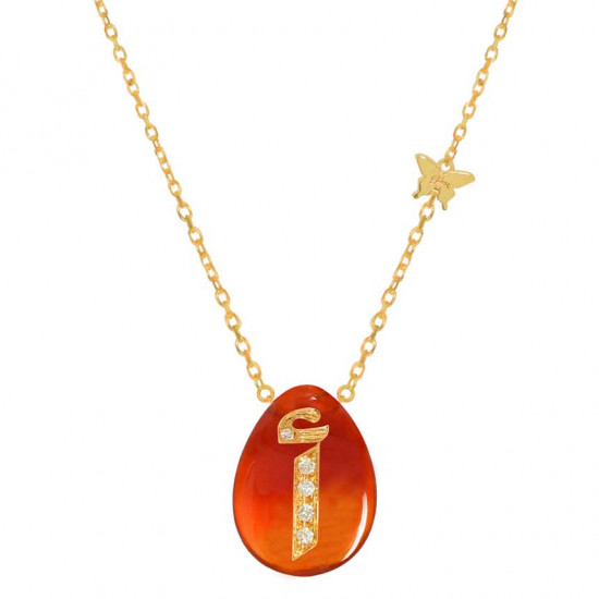 Gold chain with diamonds and red agate stone with the letter alif