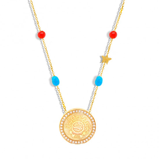 Gold coin chain, crafted with diamonds, with turquoise and red agate stones