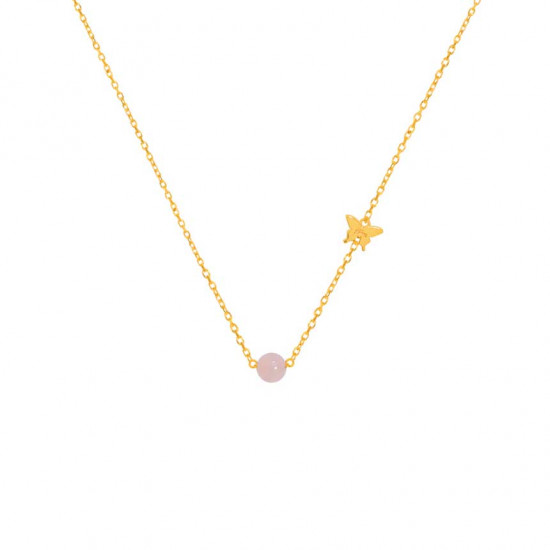 Gold chain with pink quartz stone
