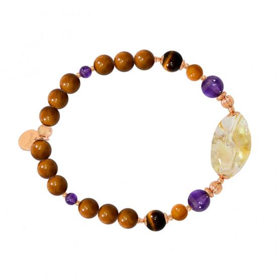 Citrine bracelet with amethyst, rabbit hair, tiger eye and coke stones